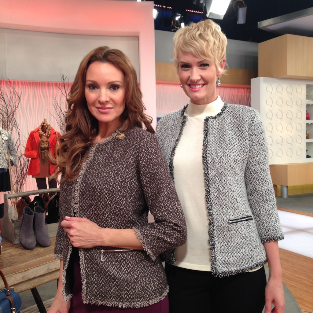Tweed Jacket with Pockets & Bracelet Sleeves: Suzanne (left) in brown and beige; Amanda in the black and white